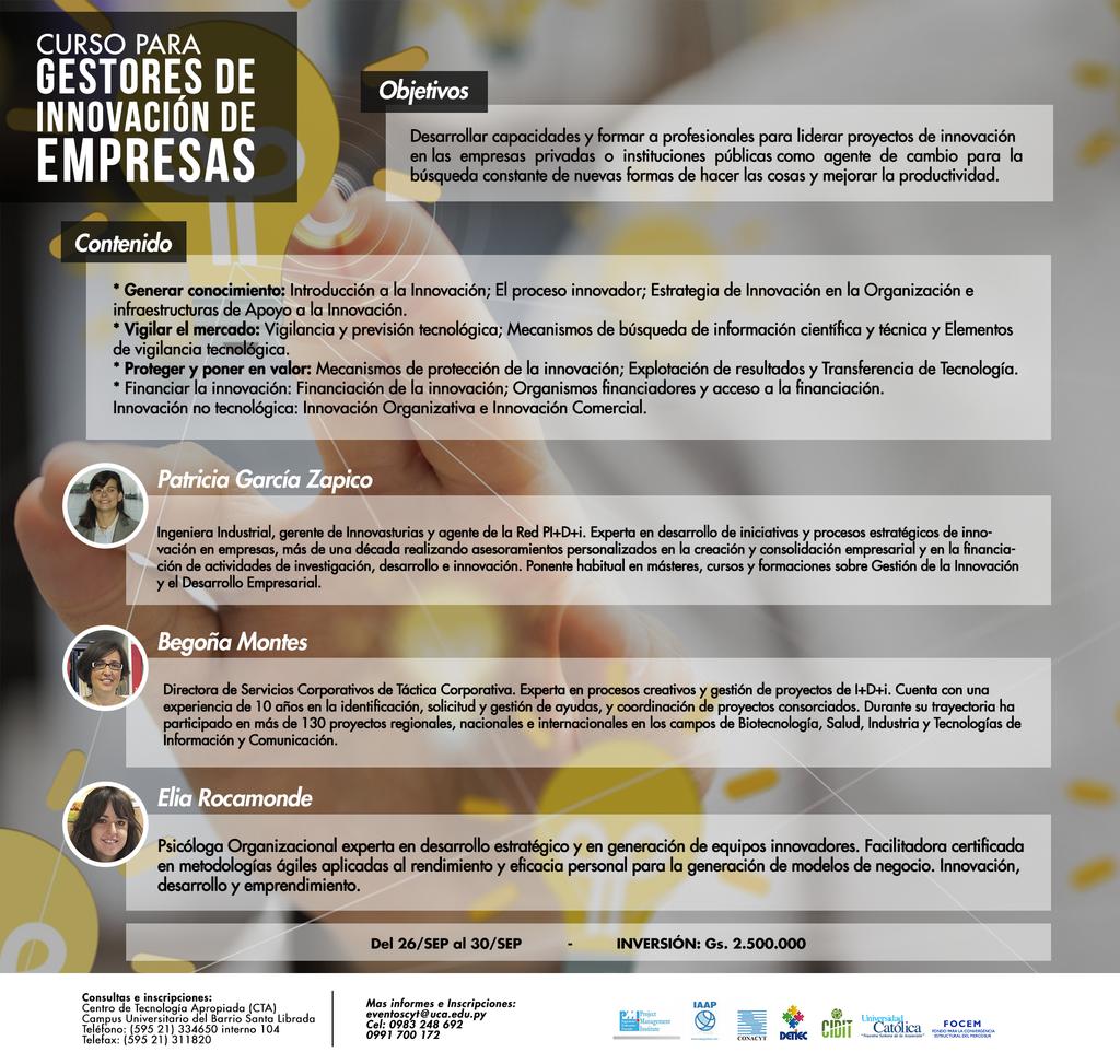 Curso para Gestores de Innovacion de empresas